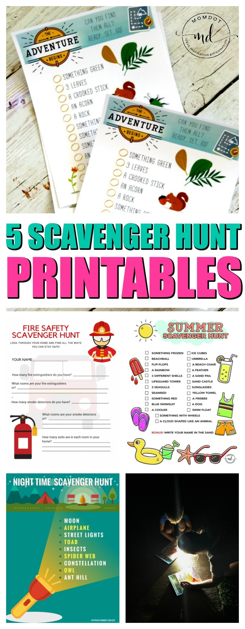 5 scavenger hunt ideas for kids with free printable sheets