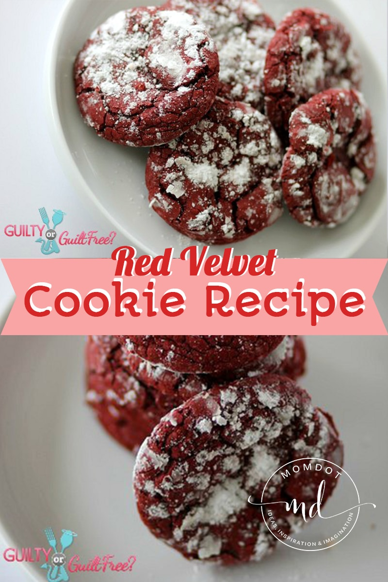 red velvet crinkle cookies made with cake mix