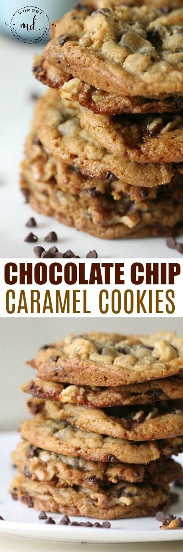 Chocolate Chip Caramel Cookie Recipe + Chocolate Chip Caramel Nut Bars Recipe, yum!
