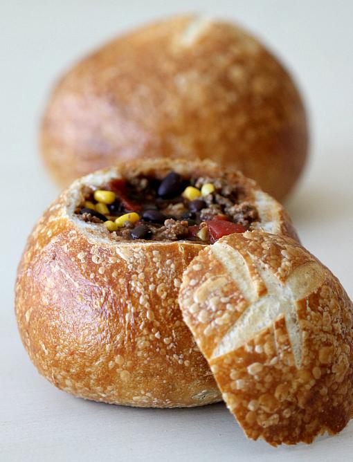 Taco Soup Recipe in Bread Bowls