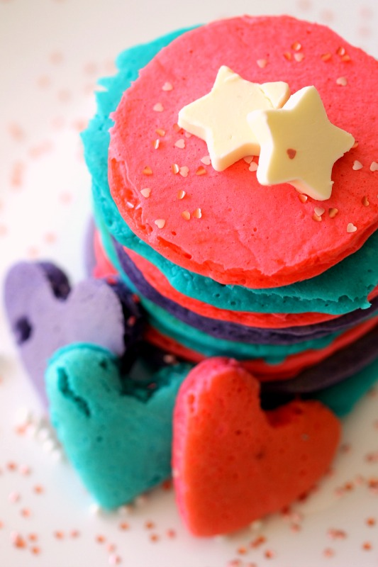 Valentines Day Pancakes, DIY with Food coloring to make a happy festive and fun breakfast suprise