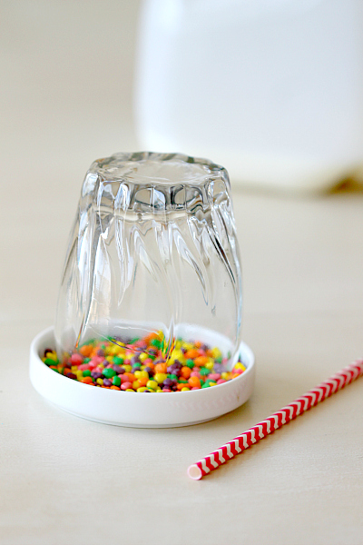 Birthday Drink! Line your glasses with Karo syrup to help candies stick to rim of glass and dip in favorite light weight candy