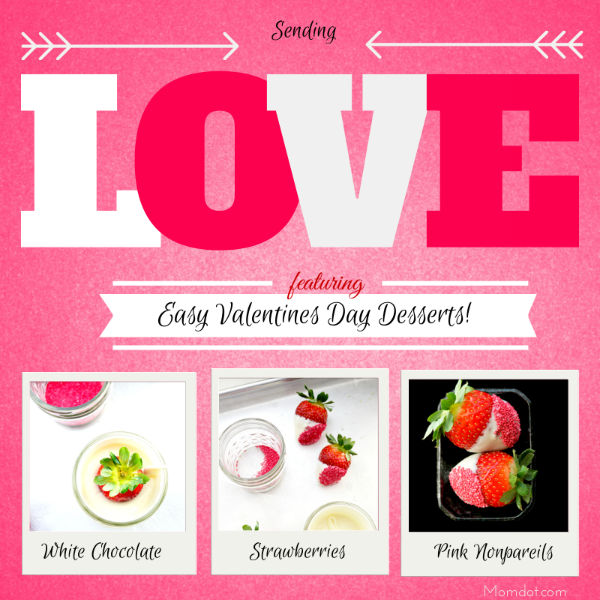 White chocolate and hot pink nonpareils for Valentines Day recipes and Desserts