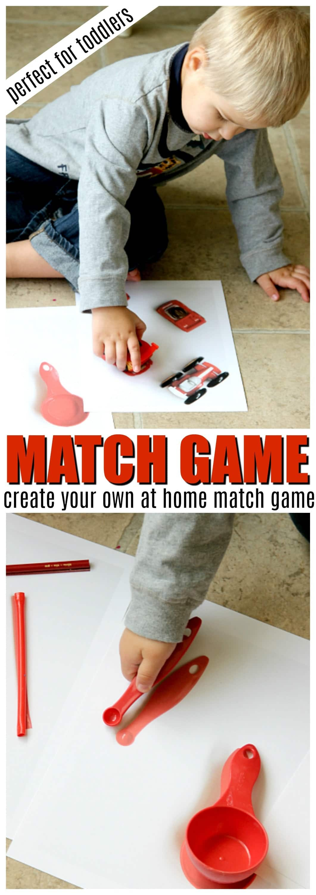 Create your own match game for toddlers, Montessori Sensory Bucket play with Matching common household items, group in shapes, colors and more. Easy play for kids 2-3 years of age.