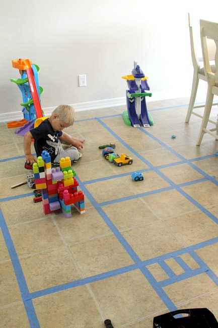 Create a tape interstate with painters tape for hours of fun