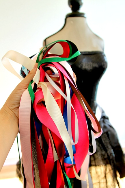 How to Make a DIY Ribbon Tutu with left over crafts, easy and fun, girly and glam