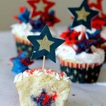 "Firecracker Surprise inside cupcakes with poprock ""firecrackers"""