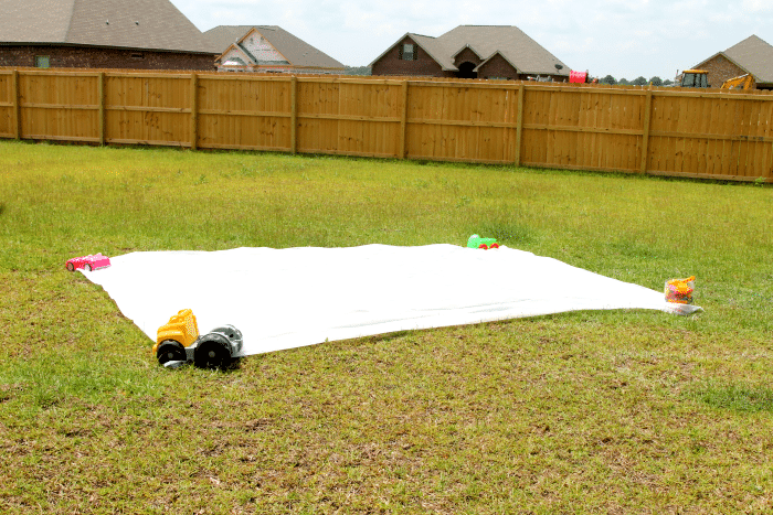 DIY Slip N Slide, Have some summer fun with shaving cream, easy clean up for you, Cool Mom!