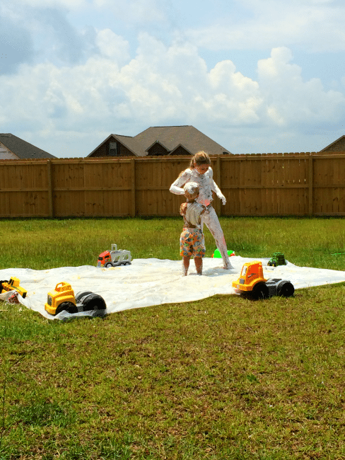Ready to have some summer fun? Create an outdoor play area that cleans up easy..REALLY!