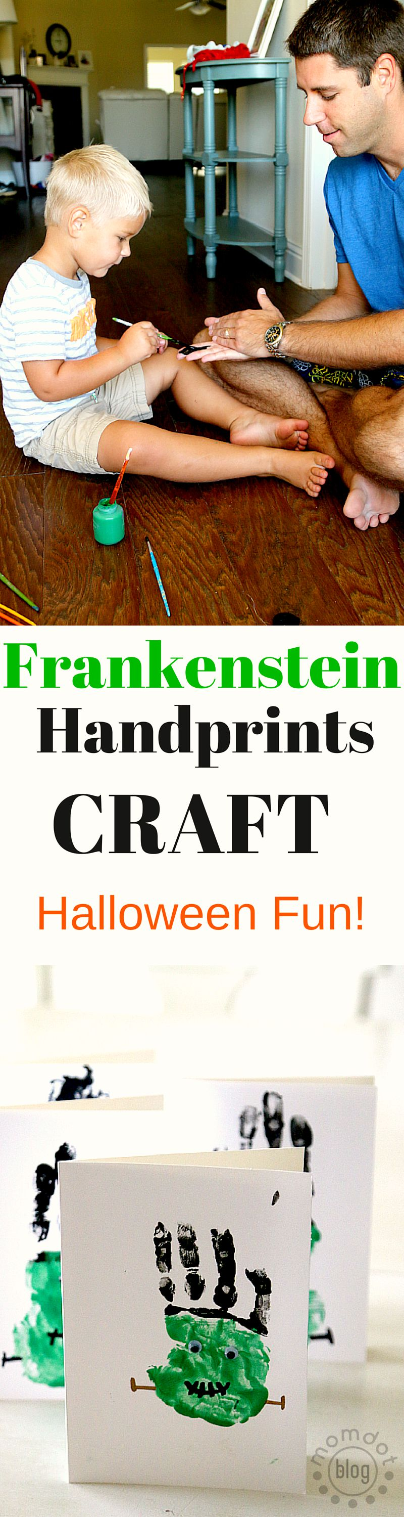 Frankenstein Handprints Craft: Toddler friendly halloween fun DIY for the whole family, Create your Frankenstein handprints as finger painting or get creative and use your feet!
