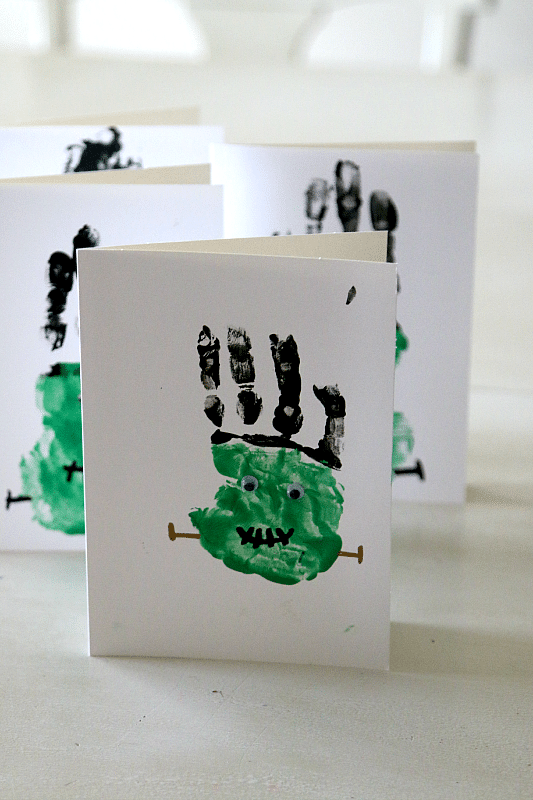 Frankenstein Handprint Craft for Cards, Bags, and more! Toddler and Preschool DIY Painting Fun