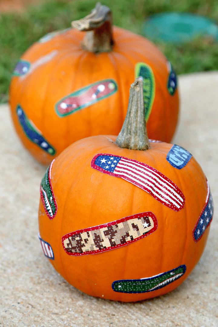 No Carve Pumpkin Idea: BAND-AIDs