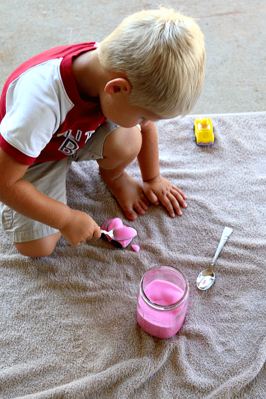 Make Rainbow Foam for sensory play, fun carwash and more! 3 Ingredient household fun, DIY