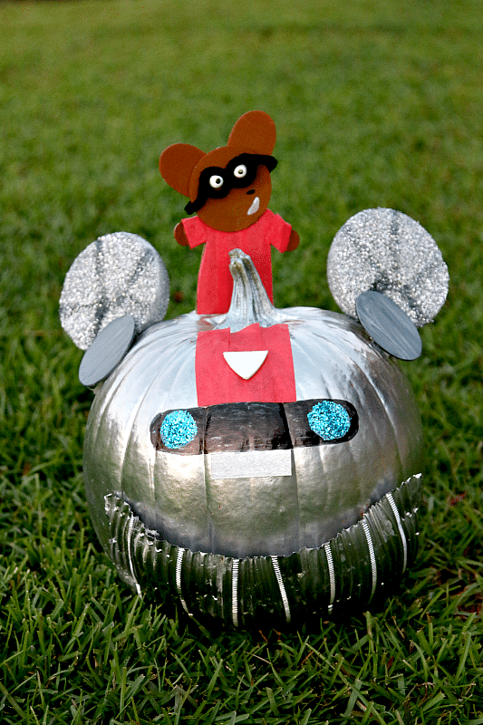 No Carve Pumpkin with Childrens Book Ricky Ricotta and Mighty Robot, Easy, Fun and Memorable