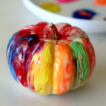 "Fingerpainting a Pumpkin, perfect ""no carve"" solution for toddler or kids halloween fun"
