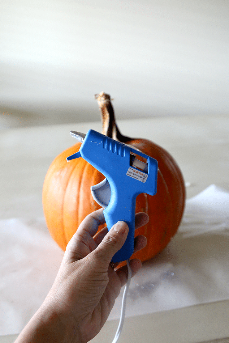 No Carve Pumpkin Fun: Get your hot Glue on with this super simple idea