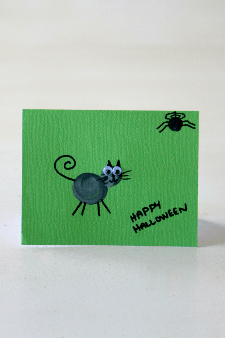 Thumbprint Art for Halloween, Spooky Cat for Cards, Kids art