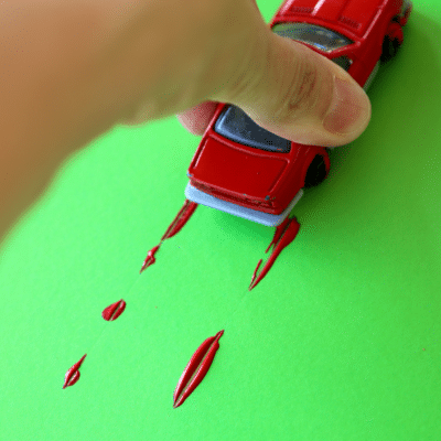 Car Track Painting with Hot Wheels