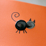 Thumbprint Art for Halloween, Spooky Cat for Cards, Kids art