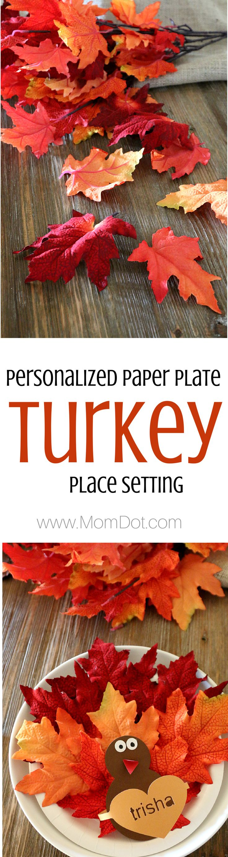Paper Plate Crafting, Create an adorable Turkey place setting and personalize it for everyone at the Thanksgiving table - Free Printable and do it with or without a Silhouette
