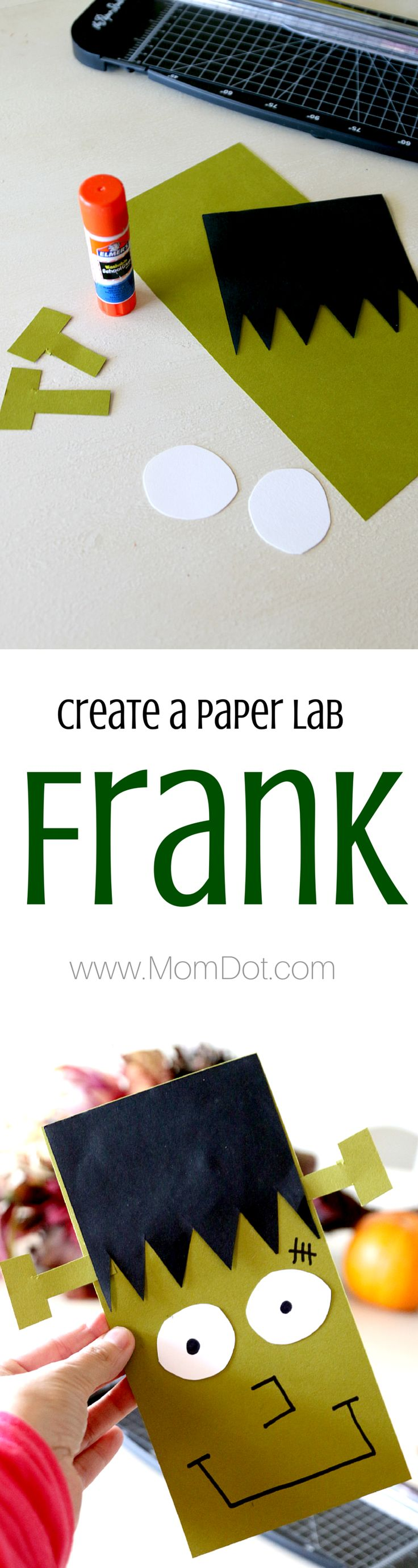 Frankenstein Paper Lab, create your own fun paper kids craft, perfect to practice the Glue Stick as well. Add any item to make Frank Fun and great in this seasons Halloween Crafts for kids.