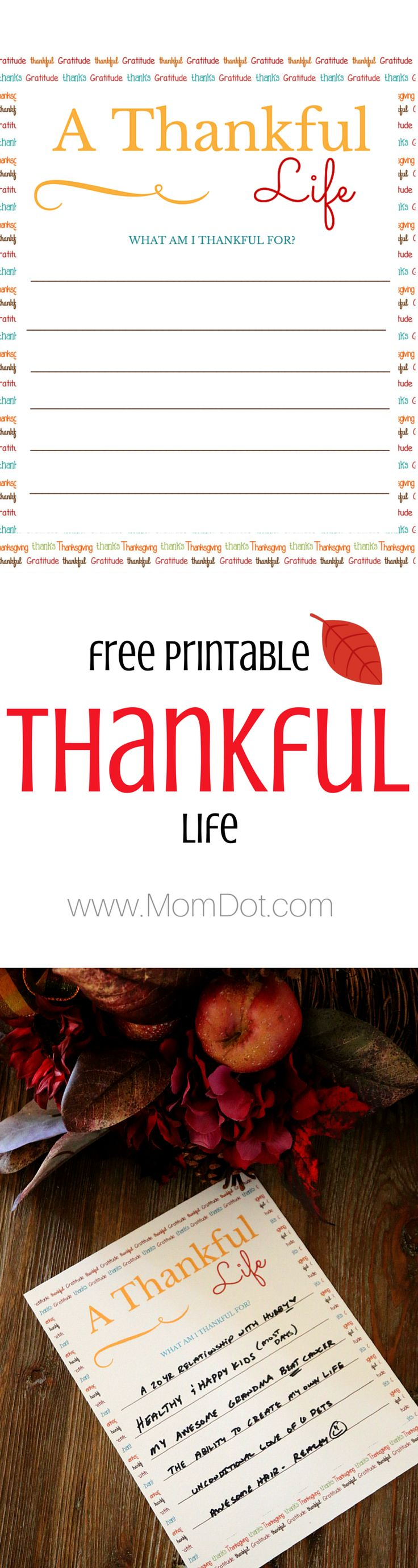 FREE PRINTABLE: Thanksgiving is all about being able to remind yourself and others of your blessings, download our free Thankful printable and have your family write out what they are thankful for