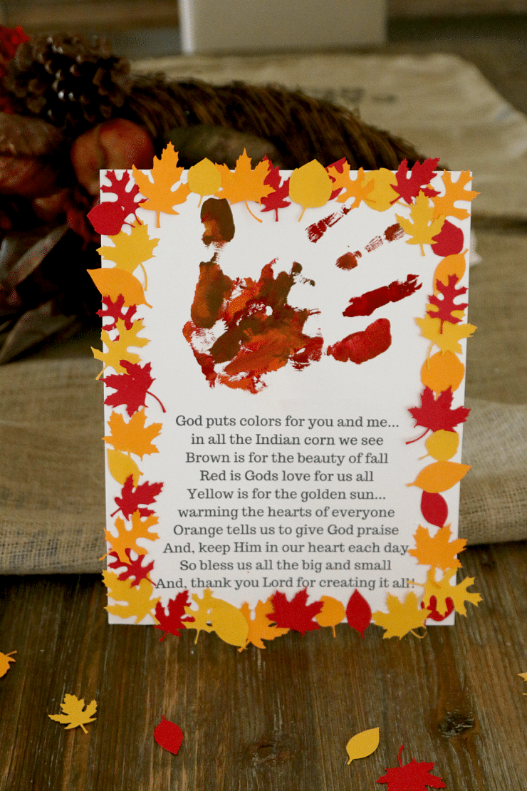 Thanksgiving handprint craft for kids for Kids crafts for church
