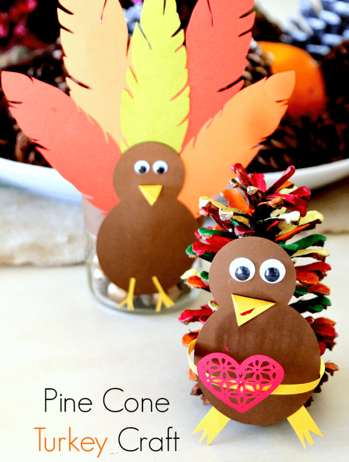 How to make a Pine Cone Turkey Table Setting Thanksgiving Craft