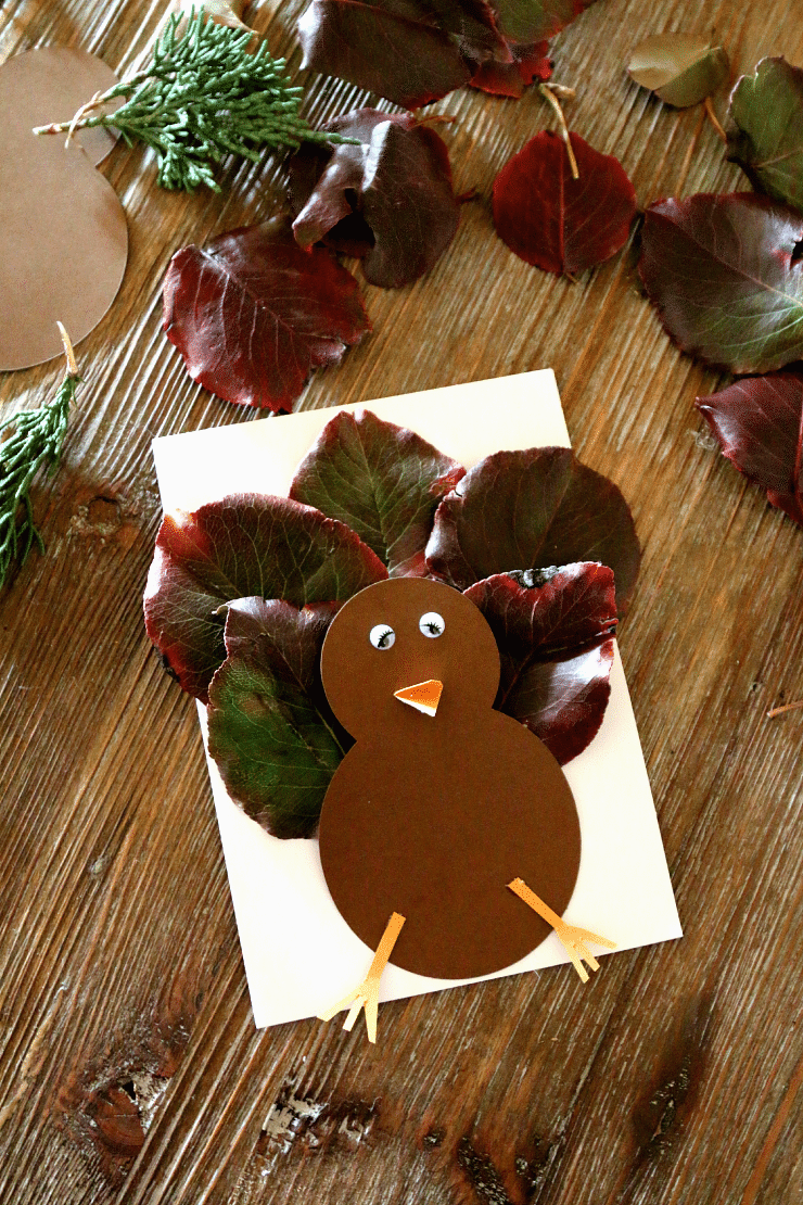 Leaf Turkey Craft - perfect Thanksgiving Kids Craft, plus adorable card