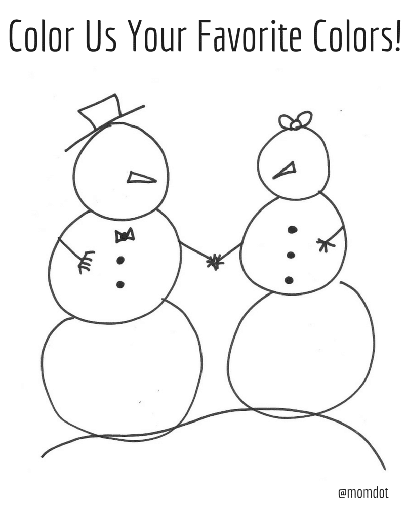Free snowman (snow family) printable, coloring page for free, fun holiday prints