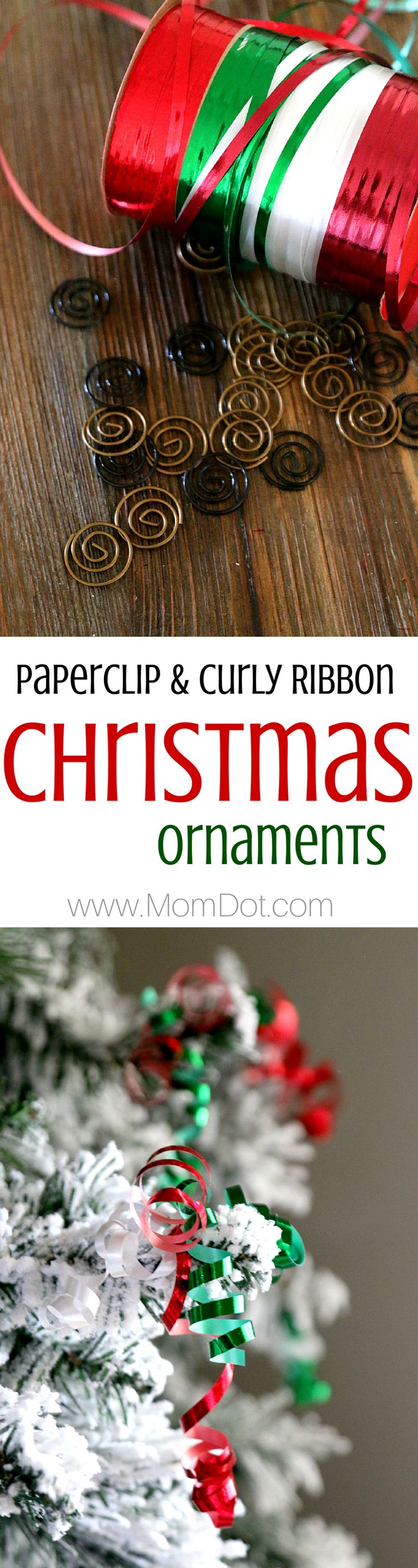 Paperclips and Curly ribbon make the perfect inexpensive DIY homemade Christmas Ornament, come see a step by step tutorial to dress up your tree cost effective (and gorgeously)
