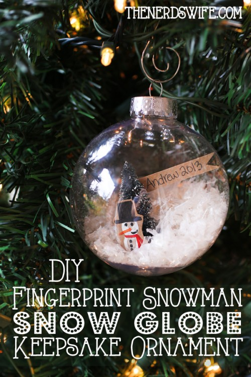Fingerprint snowman snow globe ornament