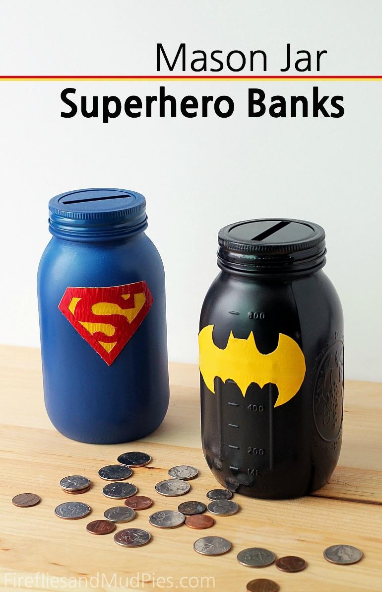 Super Hero Mason Jar Piggy Bank