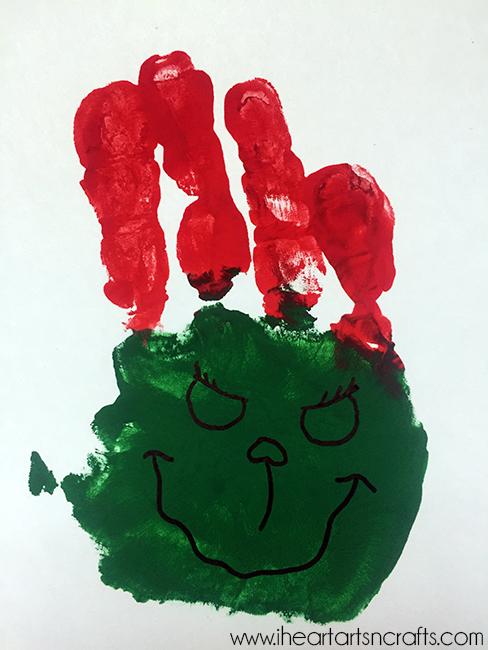 grinch handprint card
