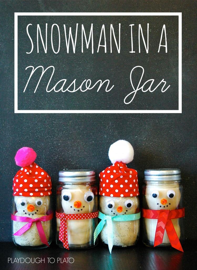 Playdough snowman in a mason jar