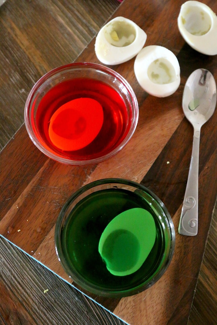 Christmas Eggs: Beautiful the Holiday Table with Red and Green Dyed Deviled eggs