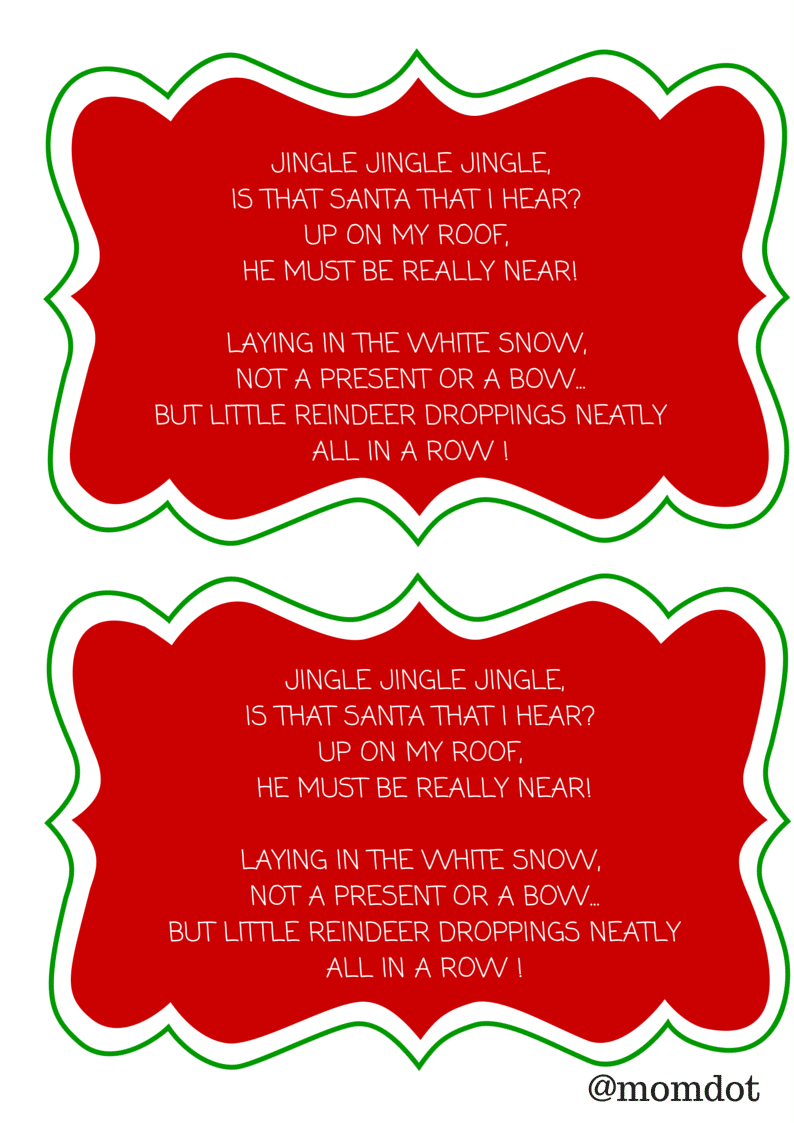 reindeer poop poem printable free
