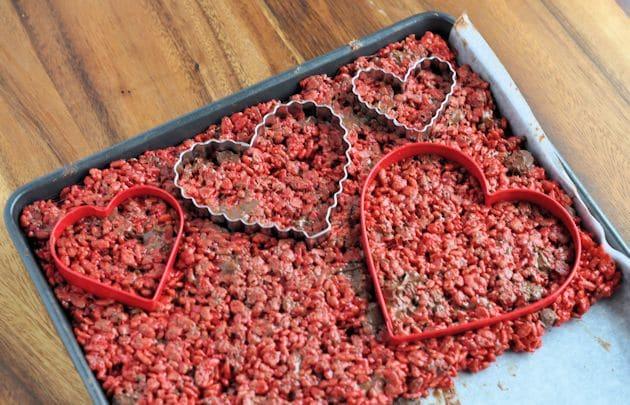 Red Velvet Rice Krispies Treats Hearts