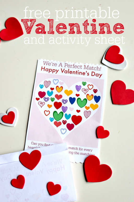 Printable Valentine's Day Card and Activity Sheet