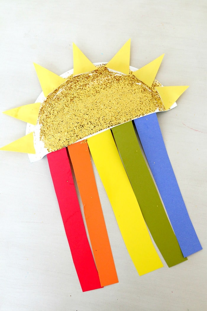 Sun and Rainbow Paper Plate Kids Craft