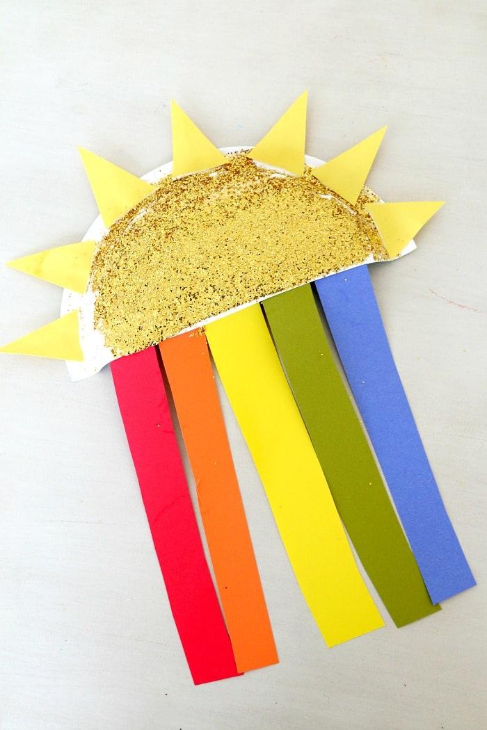 Sun And Rainbow Paper Plate Kids Craft