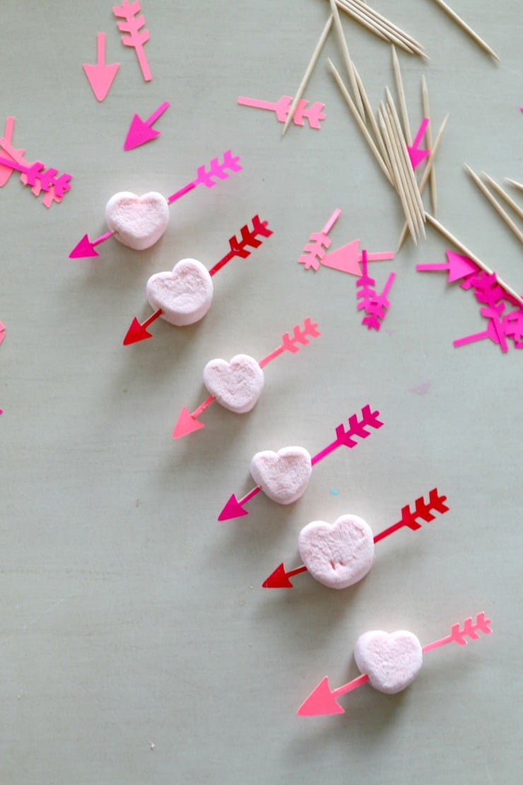 DIY Valentines Tutorial for Bow and Arrow Heart Appetizer, easy craft, free silhouette file and PDF