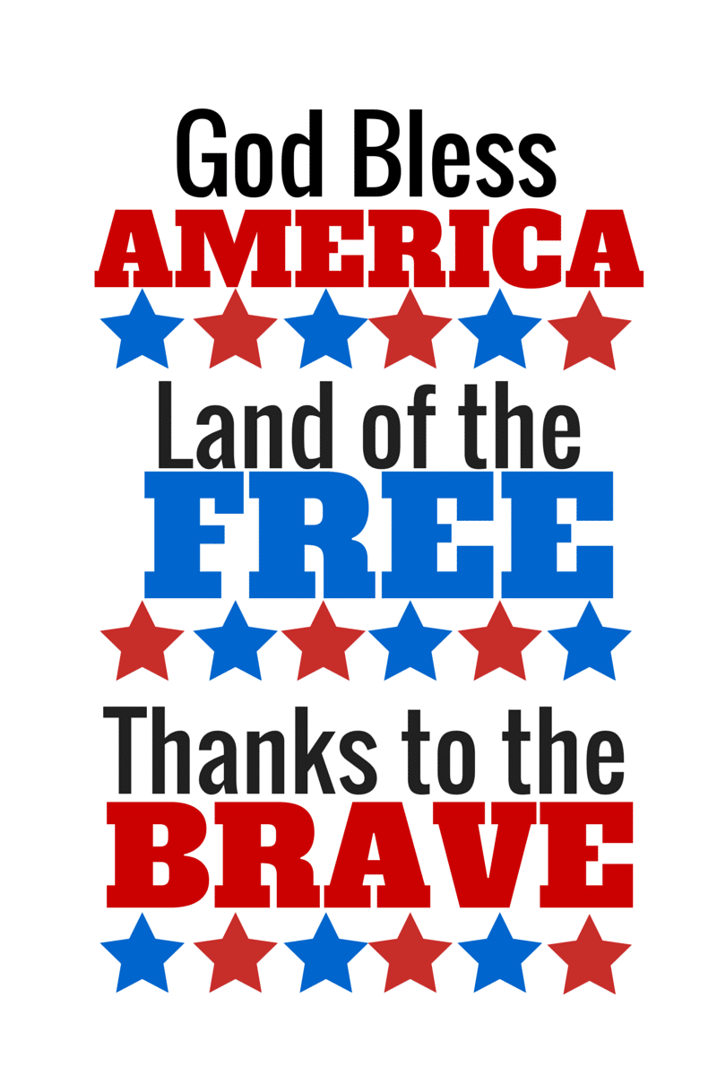 Fourth of July printable  God Bless America Land of the Free