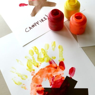 Campfire Handprint Art with Free Log Printable