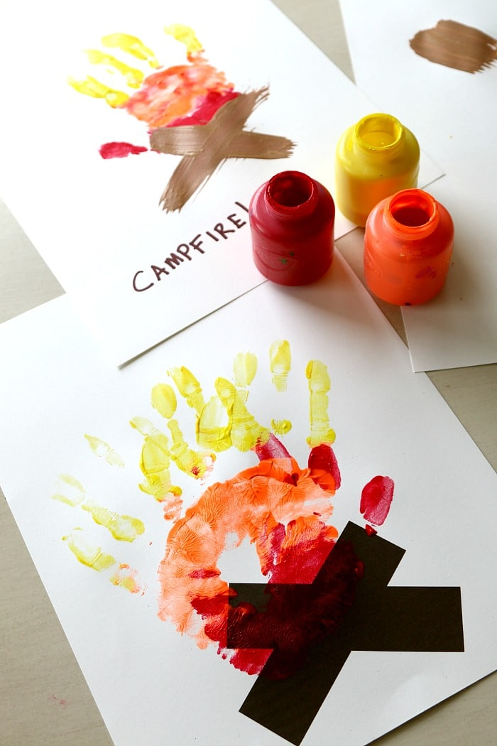Campfire Handprint Art perfect for Preschoolers, summer and 4th of July handprint fun -Free Printable