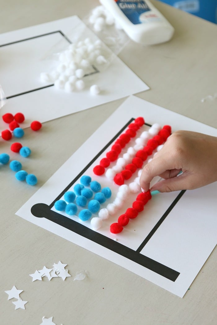 Pom Pom American Flag Craft for Kids with FREE Flag Printable!