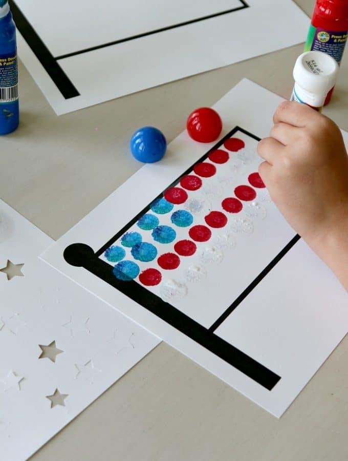 4th of July Dauber Flag Kids Craft: Printable