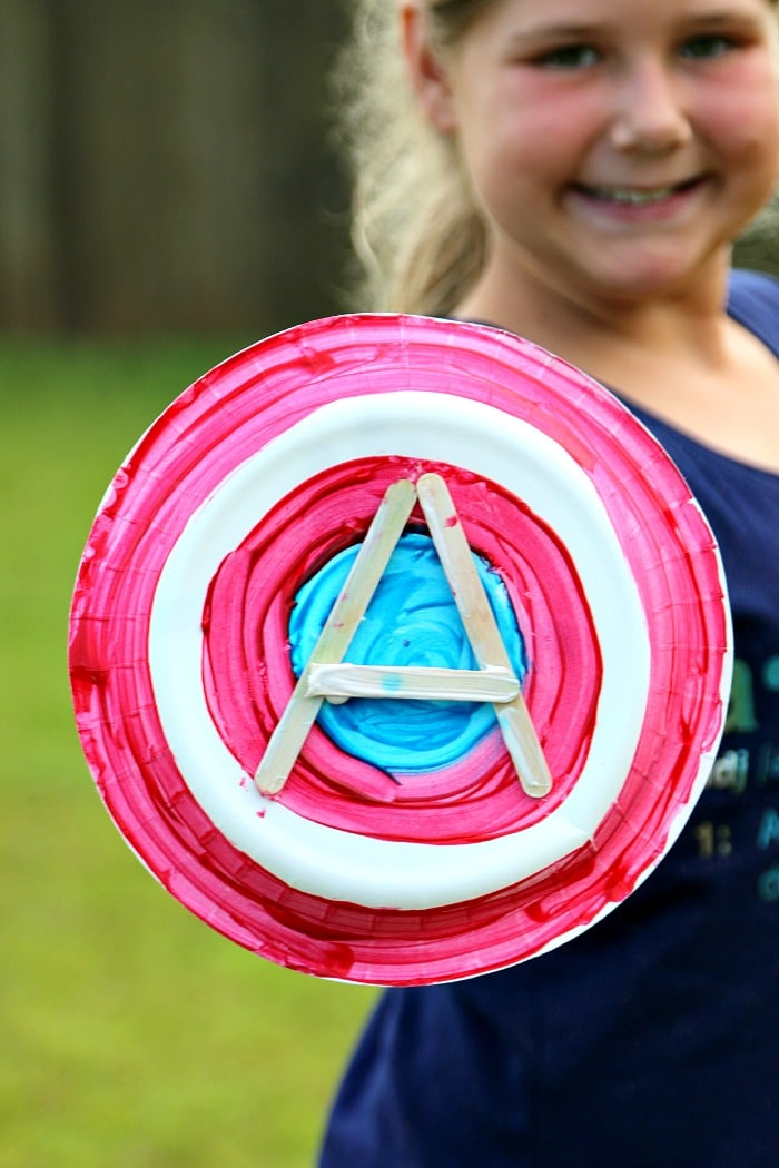 Captain America Paper Plate Shield with Popsicle Sticks