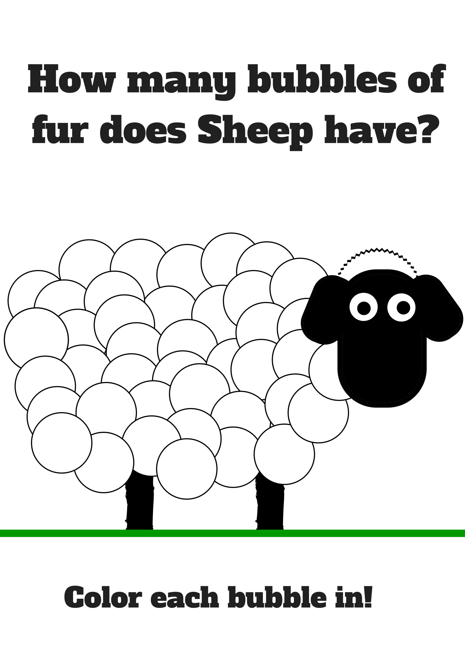 Free Shaun the Sheep Printable How many bubbles of fur does Sheep have-