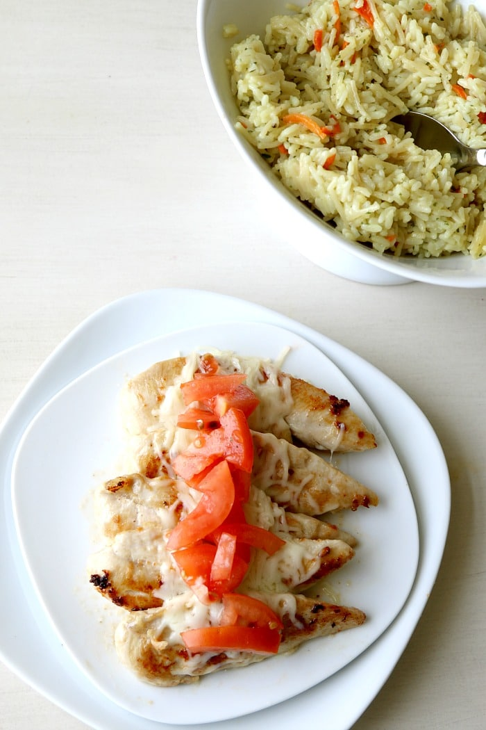 Easy Bruschetta Chicken and Rice, super filling and under 20 minute cook time